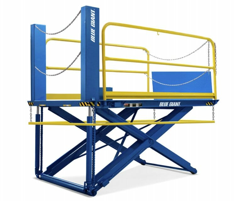 Lo Profile Loading Dock Lift Blue Giant with White background
