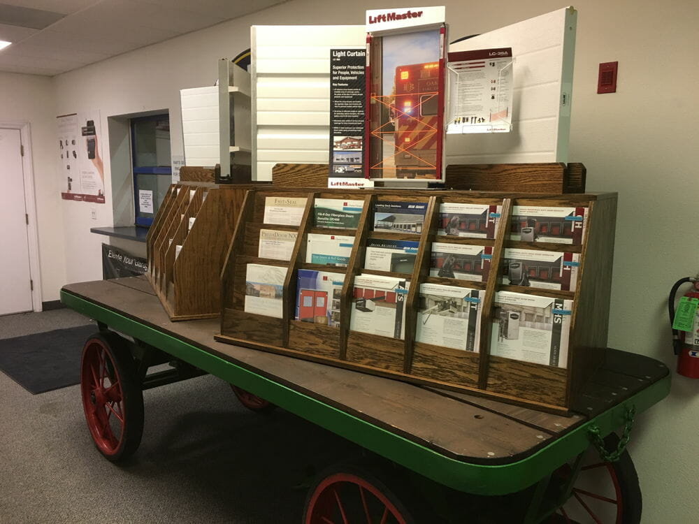Old Wagon with Brochure Rack on top of it in Modesto Office.