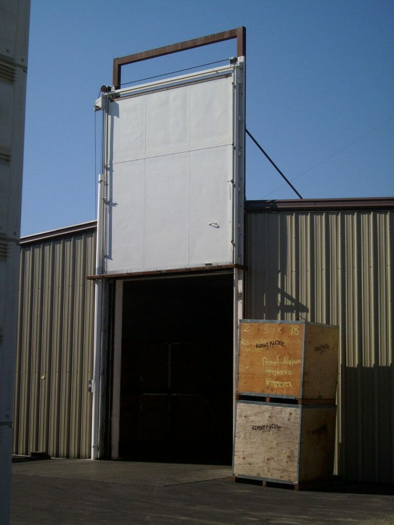 fumigation door installed in almond processor