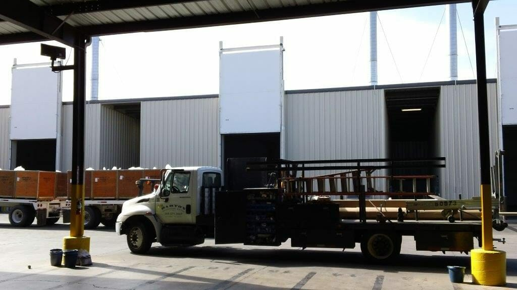 truck in front of vertical fumigation door