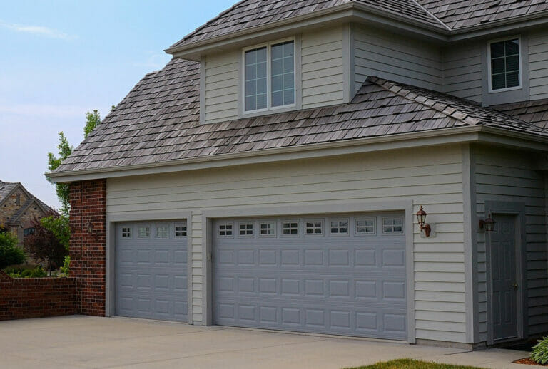 Grey Raised Panel Garage Doors
