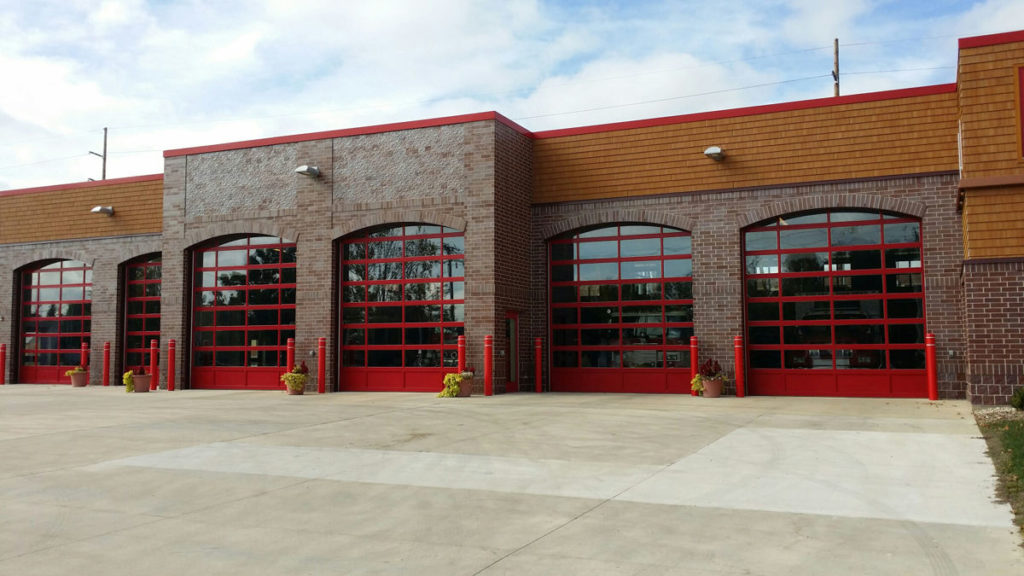 Red Powder Coated CHI 3295 Full-View Commercial Doors