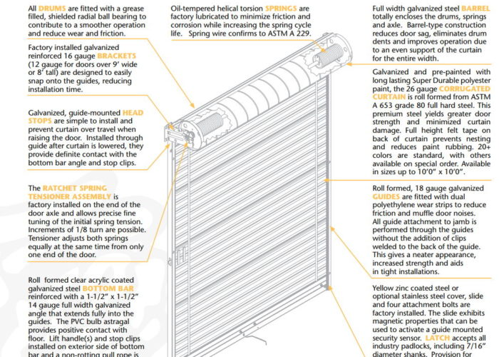Rolling Curtain Sheet Door Barton Overhead Door Inc