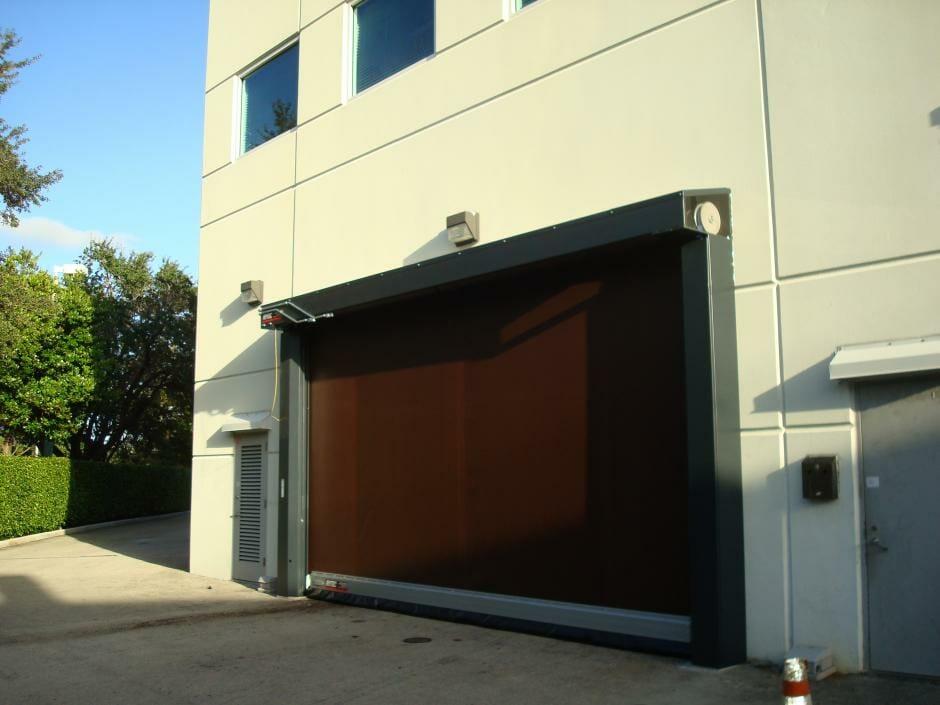 high speed door installed in a industrial building.