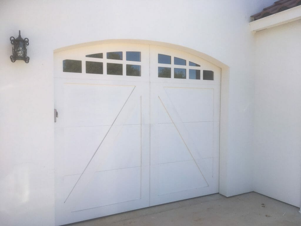 Custom Arch white carriage house door