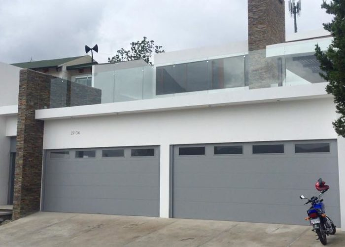 Grey Flush Panel Garage Door with Top Windows