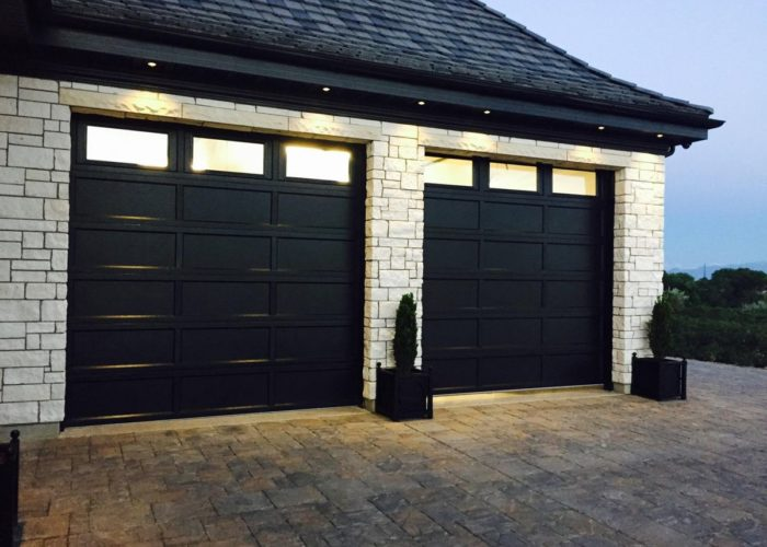 ... Garage Door; Black Powder Coat Recessed Panel