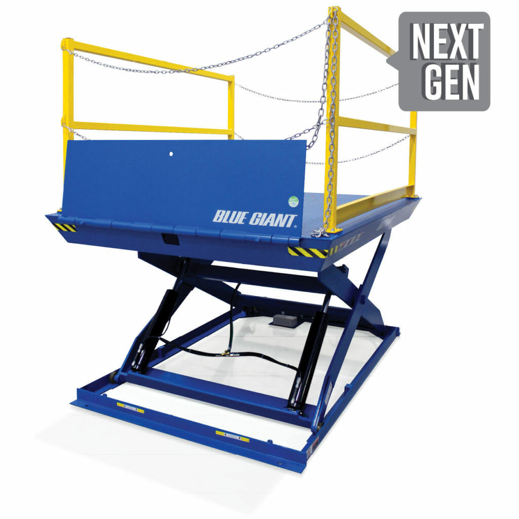 A Blue Giant Dock lift with white background