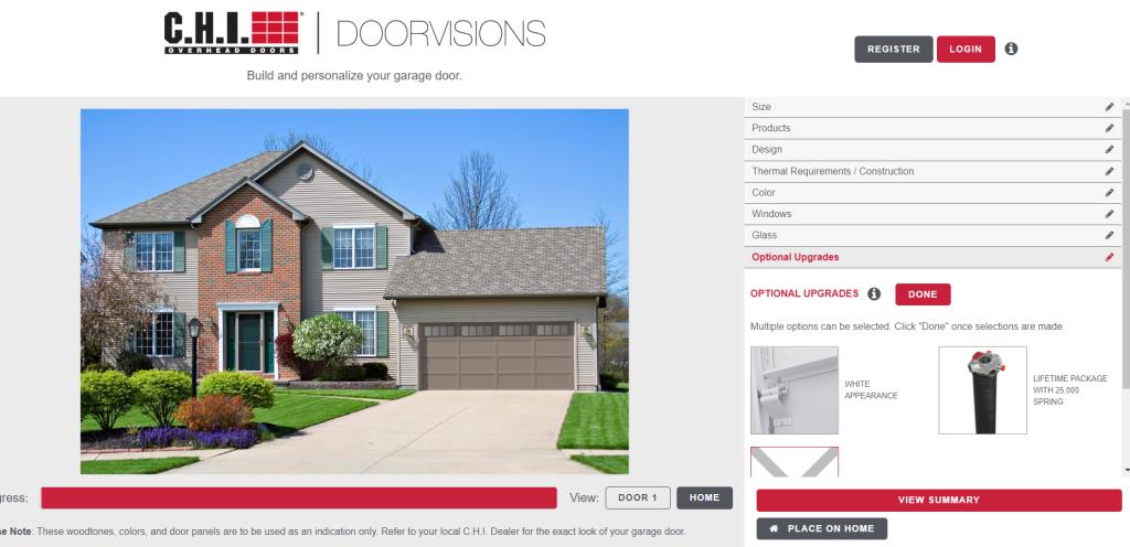 An example garage door customized through CHI Doorvisions Software.